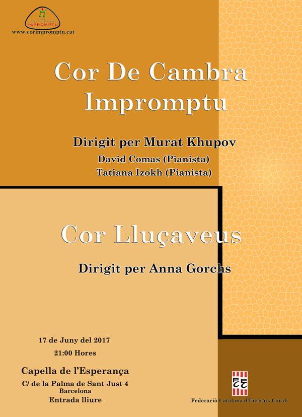Concert d'estiu. Cor Lluçaveus i Cor de Cambra Impromptu